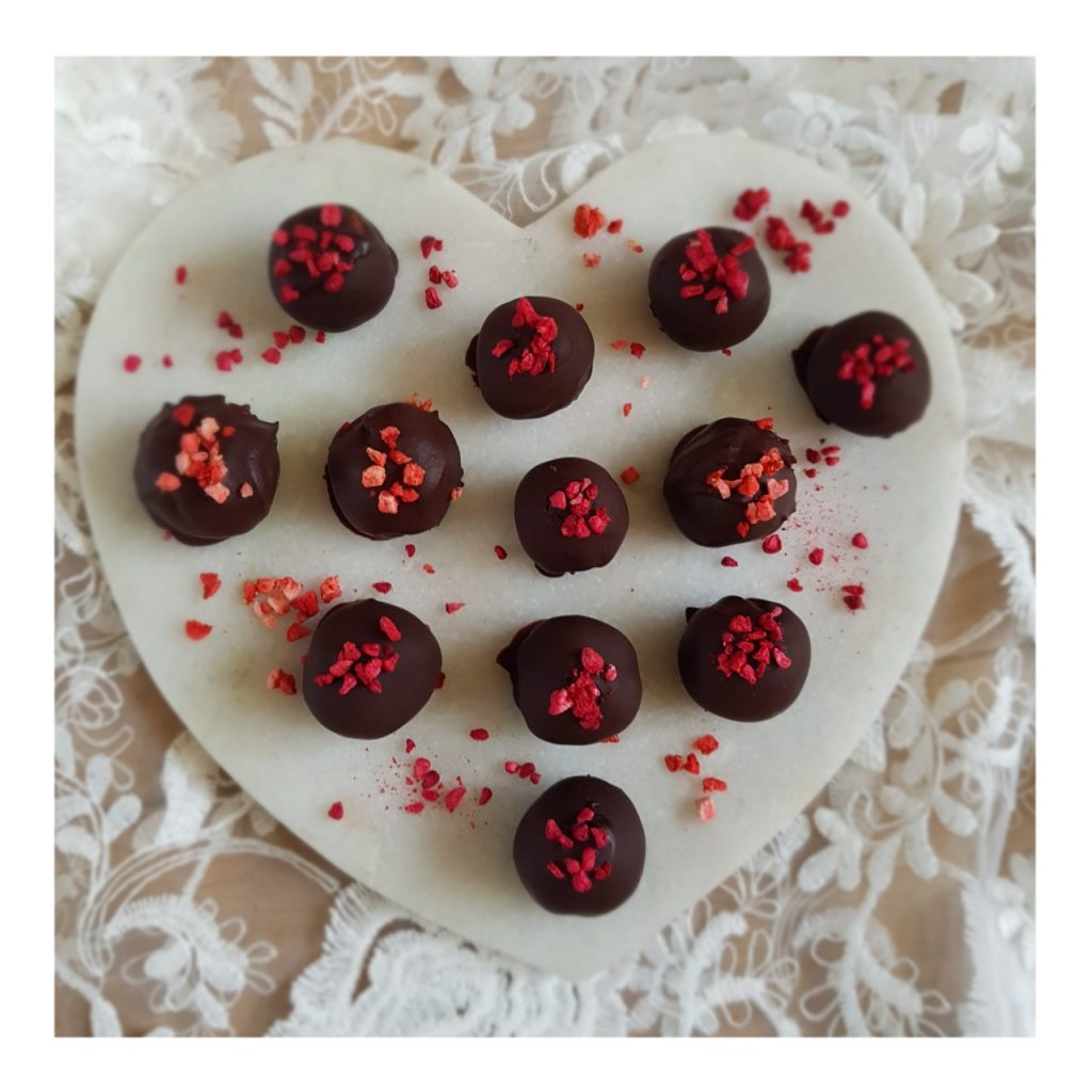 strawberry gluten and dairy free chocolate truffles