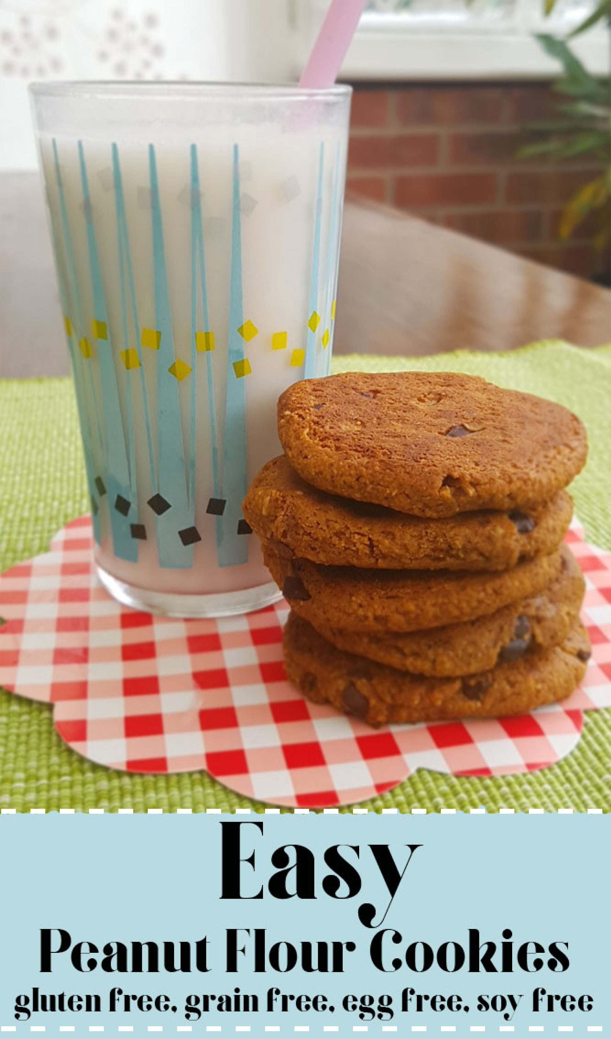 Gluten free peanut flour chocolate chip cookies
